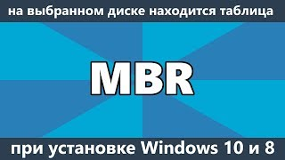 На выбранном диске находится таблица MBR разделов при установке Windows 10 и 8