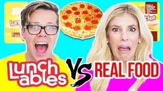 LUNCHABLES VS. REAL FOOD CHALLENGE (FOOD TASTE TEST)
