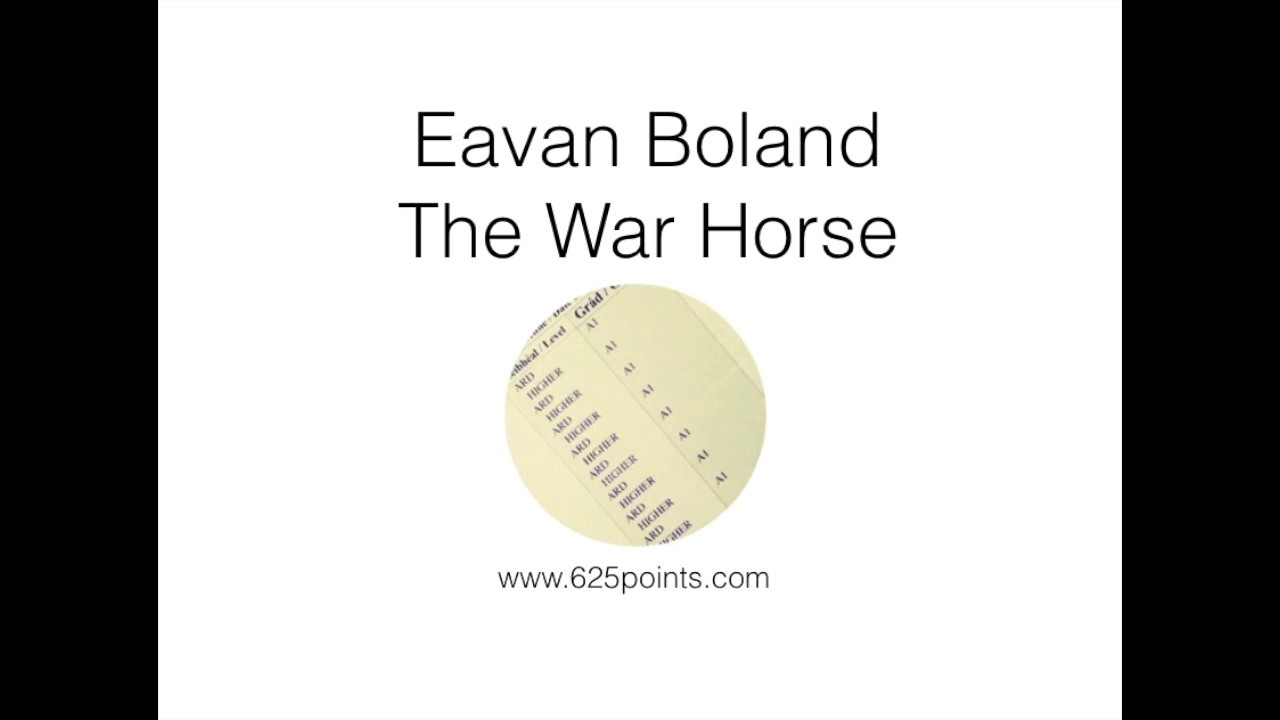 outside history eavan boland essay Eavan boland the main concerns of in an essay in the literary review, boland writes: outside history • this poem is her 'poetical manifesto.