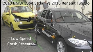 2010 BMW 5-Series (525d Sedan) Vs. 2015 Renault Twingo Small-Overlap Low-Speed Crash Test