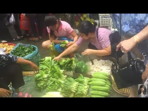 Market street food in Asia, Cambodian market street food, Market in Phnom Penh city