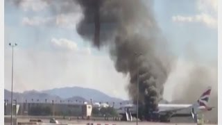 Plane catches fire on runway at Las Vegas airport