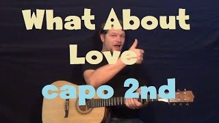 What About Love (Austin Mahone) Easy Strum Guitar Lesson How to Play Capo 2nd Tutorial