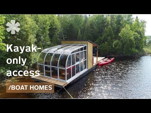 Tiny Boat Home Packs Sunroom & Dock On Remote Kayakers' Lake