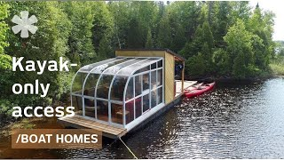 Download Tiny boat home packs sunroom & dock on remote kayakers' lake Mp3 and Videos
