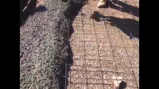 Pouring concrete slab for a small building