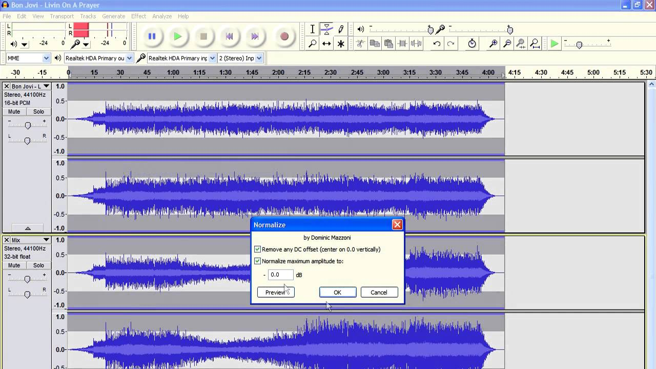 audacity how to lower volume of section