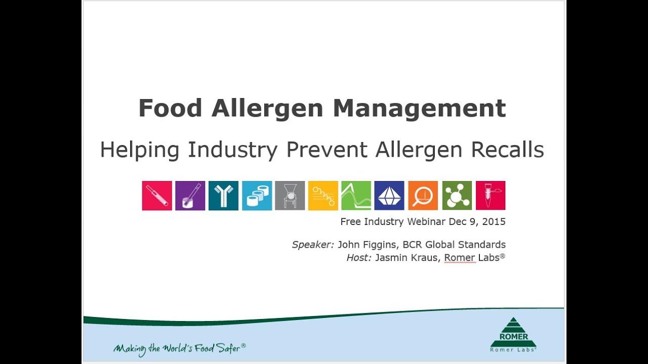 Webinar - Food Allergen Management