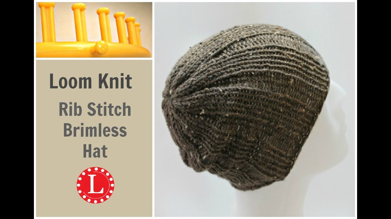 Knitting Loom Hat Stitches : Loom Knit Hat Rib Stitch Slight Slouch Brimless Beanie for Men and Women. - Y...