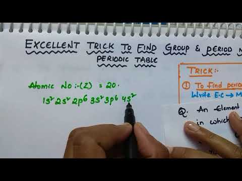 Trick to find group number and period number in Periodic table/periodic table tricks/class 12 chem