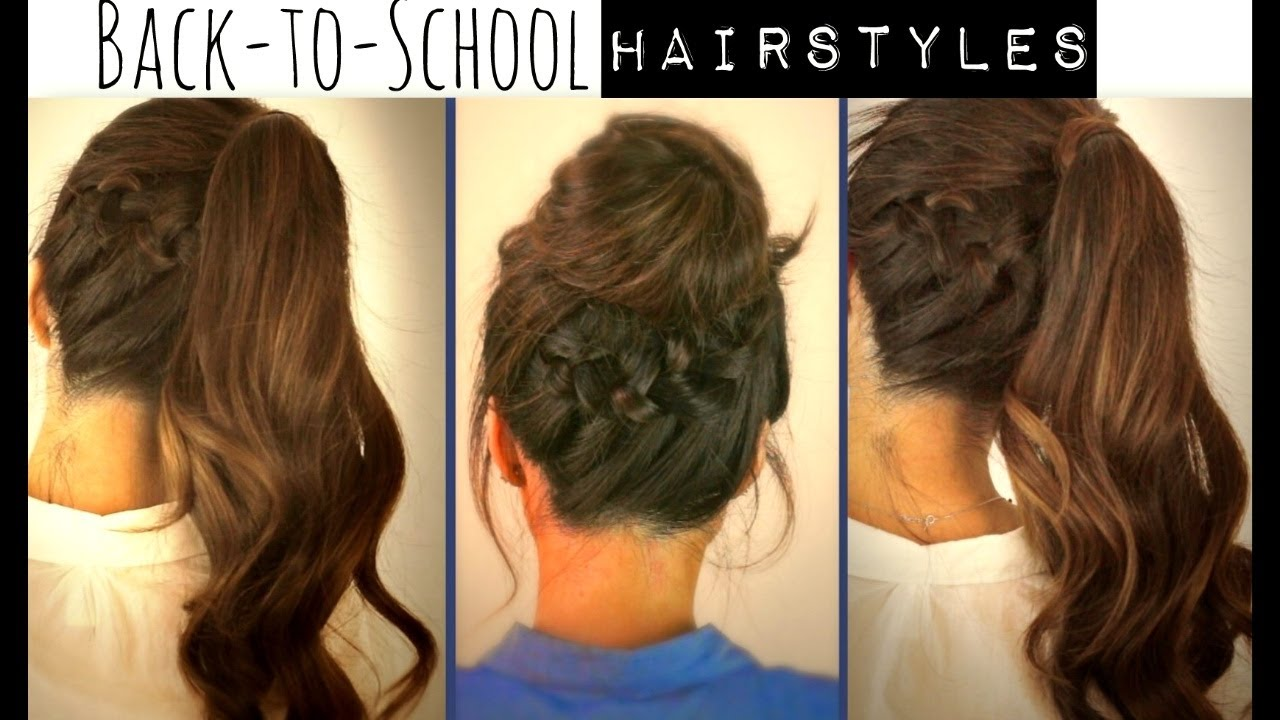 ☆ CUTE BACK TO SCHOOL HAIRSTYLES | BRAIDED PONYTAIL U0026 MESSY BUN UPDOS FOR  MEDIUM LONG HAIR TUTORIAL   YouTube
