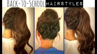 ★ CUTE BACK-TO-SCHOOL HAIRSTYLES | BRAIDED PONYTAIL & MESSY BUN UPDOS  FOR MEDIUM LONG HAIR TUTORIAL
