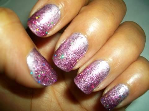 nail tutorial glittery purple
