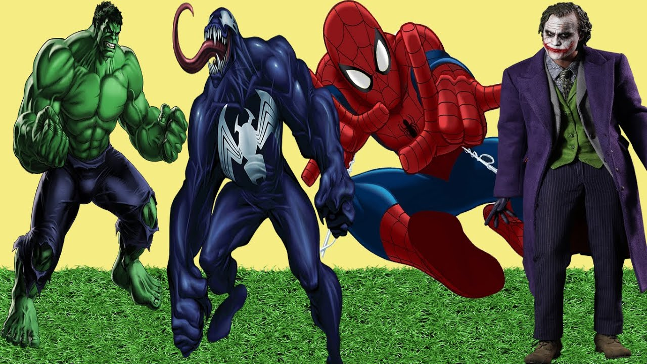 Spiderman Vs Joker Vs Hulk Vs Venom Coloring Pages