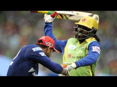 Chris Gayle hits Yuvraj Singh with a Bat