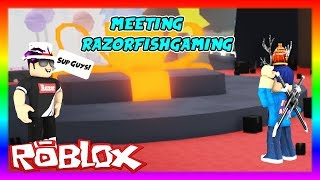 MEETING RAZORFISHGAMING IN ROBLOX UNBOXING SIMULATOR