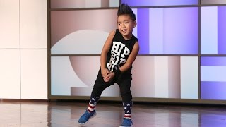Astounding Kid Dancer Aidan Xiong(When Ellen saw his video on the internet she was blown away! She had to meet the young performer, and today she did! Choreography by Tricia Miranda., 2014-10-24T05:12:43.000Z)