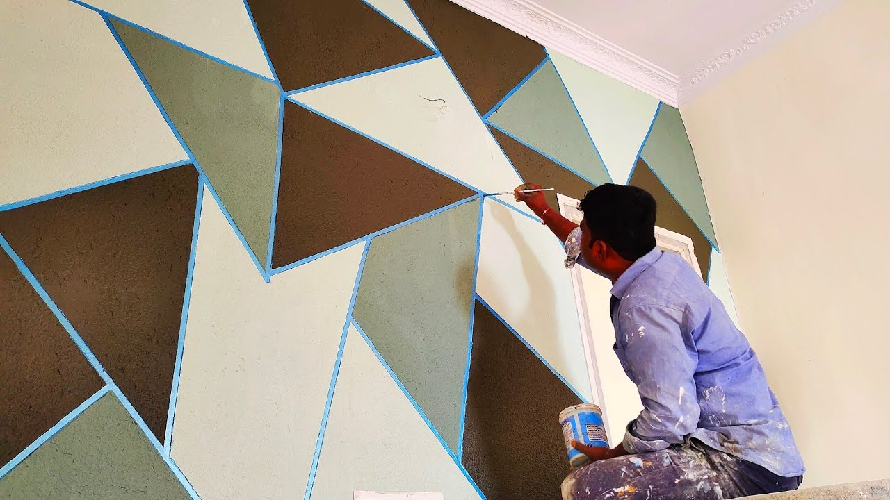 geometric wall texture design | wall painting ideas