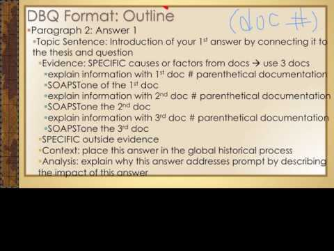 Essay Writing: AP World History DBQ Format and Outline
