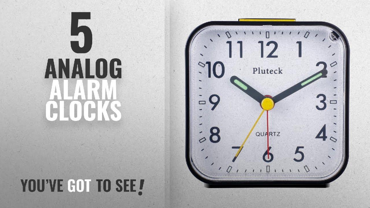 top 10 analog alarm clocks 2018 pluteck non ticking analog alarm clock with nightlight and. Black Bedroom Furniture Sets. Home Design Ideas
