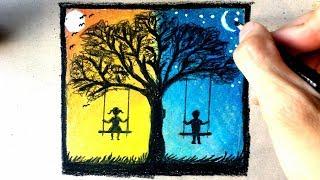 Manzara nasıl çizilir - Gündüz ve gece - Renkli kalem
