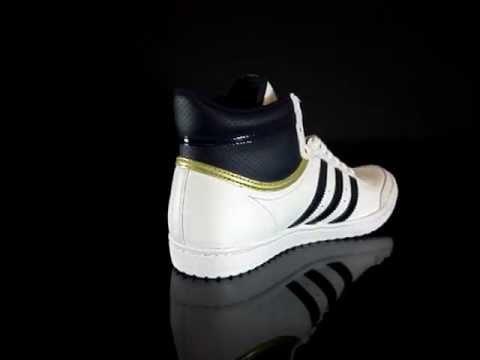Adidas Top Ten Hi Sleek White Marine Metallic Gold V22856