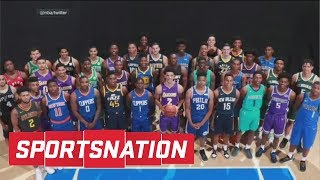 Lonzo Ball Took Markelle Fultz's Spot In NBA Rookie Photo | SportsNation | ESPN