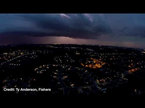 Drone Captures Storm Over Fishers, Indiana, On May 11, 2016