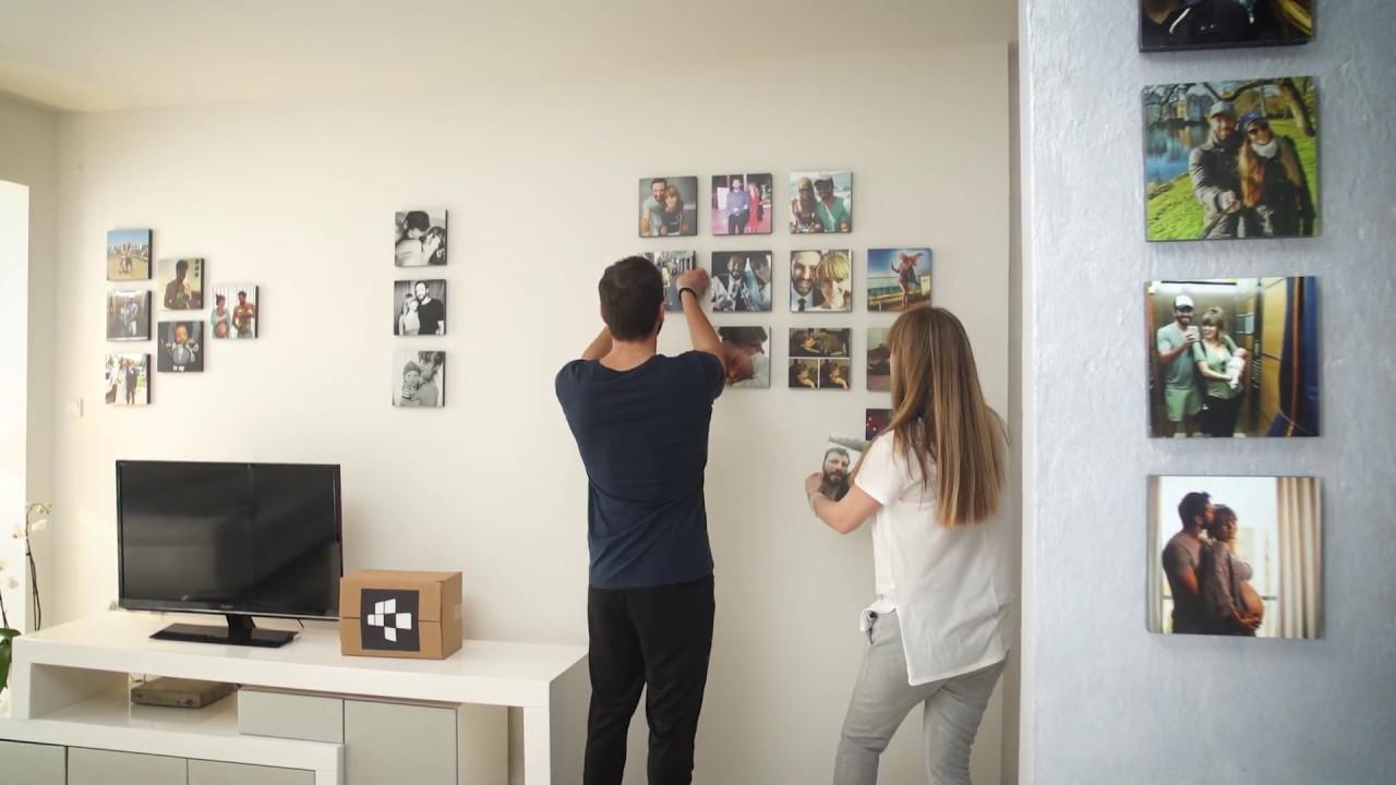 stickable re stickable photo tiles youtube. Black Bedroom Furniture Sets. Home Design Ideas
