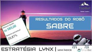 Resultados do robô SABRE da estratégia LYNX ( parcial de julho/2020 )