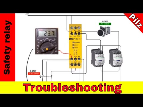 Troubleshooting safety relay Pilz PNOZ  with emergency button.