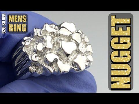 Mens 925 Sterling Silver Nugget Ring  - Blingcartel.com