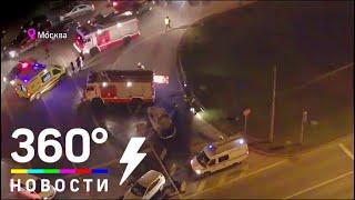 Огненное ДТП на севере Москвы. Видео с коптера