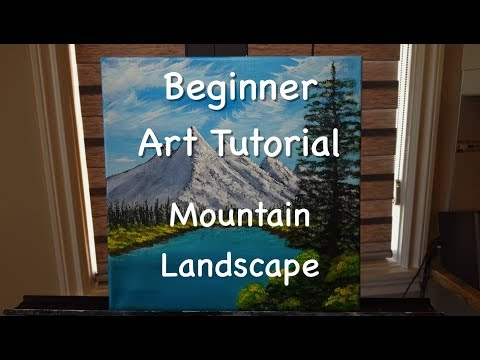 Step by Step Beginner Art Tutorial: Mountain Landscape Acrylic Painting
