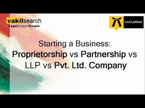 Difference between Proprietorship vs Partnership vs LLP vs Pvt Ltd Company