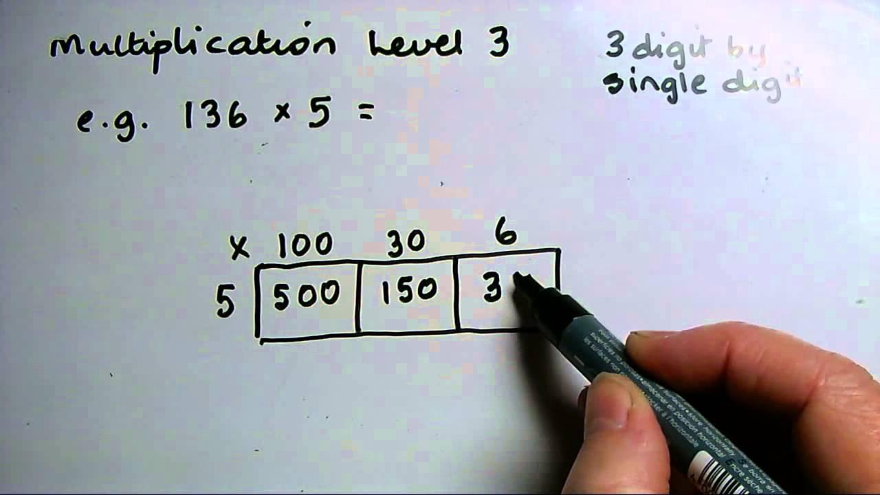 L3 Multiplying grid method 3 digit x single digit - YouTube