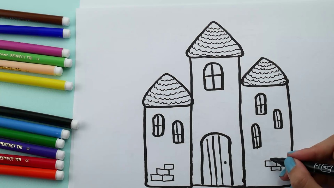 How To Draw and Coloring Castle for Kids. Castle Coloring pages ...