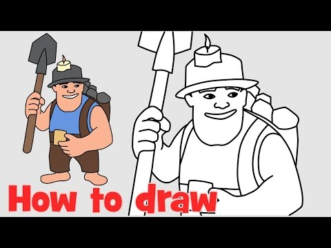 How to draw Miner from Clash of Clans new troops COC characters