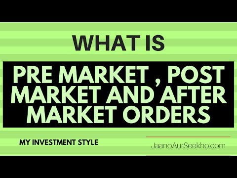 What is pre-open Market , After Market Order and Short Delivery