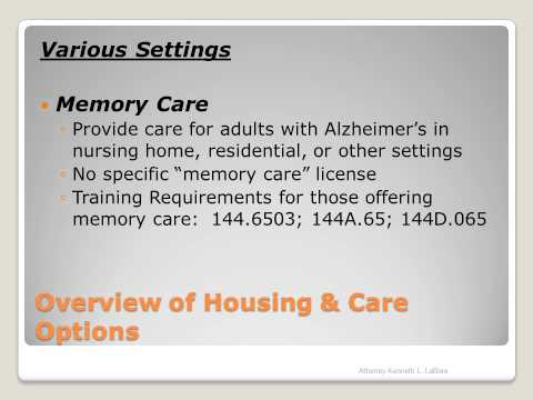 Overview of Care Options for Vulnerable Adults and Elderly Citizens