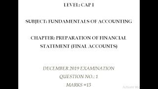 CA CAP I DECEMBER 2019 EXAM SOLUTION