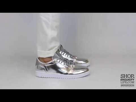 arrives best supplier fashion Air Jordan 1 Low Retro Pinnacle Metallic Silver On feet ...
