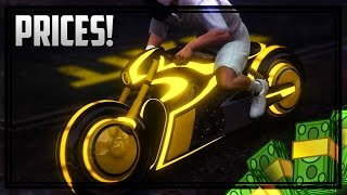 GTA 5 DLC - ALL 8 UNRELEASED VEHICLES PRICES! Tron Bike, Sanctus, Raptor & More! (Bikers DLC)