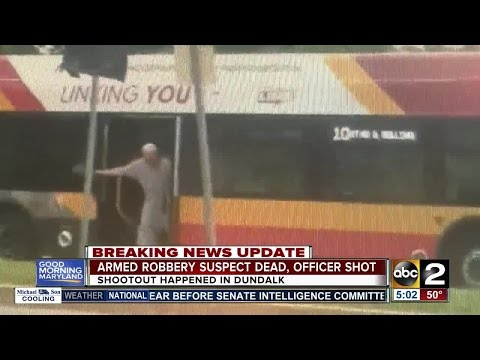 Armed robbery suspect dead, officer shot after shootout in Dundalk