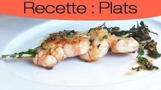 Recette : Brochettes de crevettes à l'ail