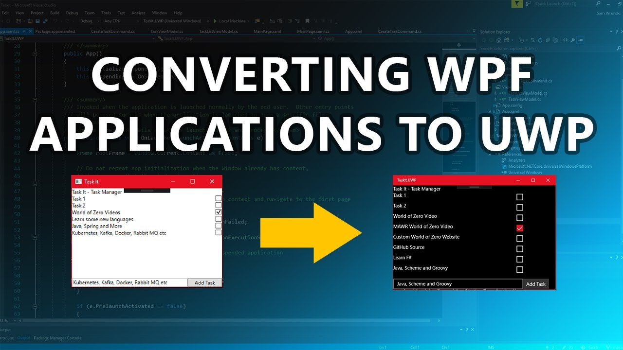 Lets Convert our WPF Task List to UWP