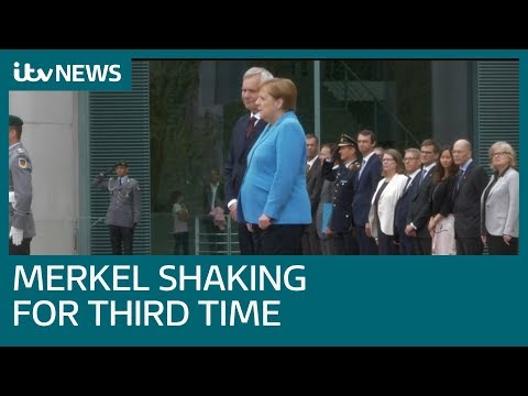 German leader Angela Merkel seen visibly shaking for third time in month | ITV News