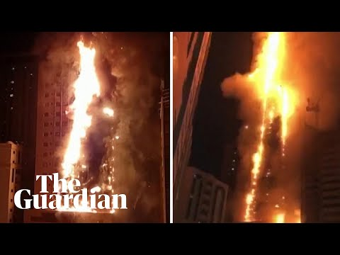 Fire Engulfs Tower In The United Arab Emirates
