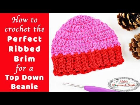 Perfect Ribbed Brim for a Top Down Beanie - Crochet Tutorial - YouTube bf33220452e
