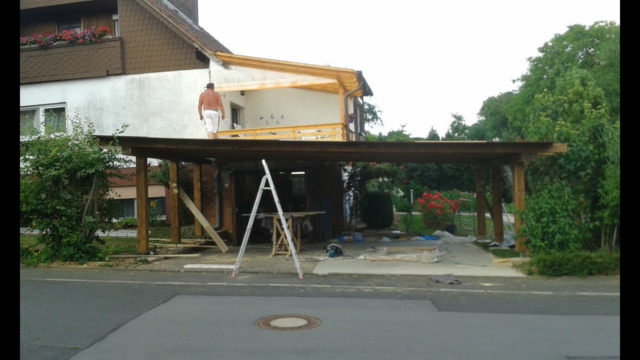 mega projekt carport teil 2 4 carport selber bauen auto garage youtube. Black Bedroom Furniture Sets. Home Design Ideas
